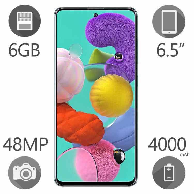 گوشی موبایل سامسونگ مدل Galaxy A51 ظرفیت ۱۲۸ گیگابایت رم ۶ گیگ دو سیم کارت