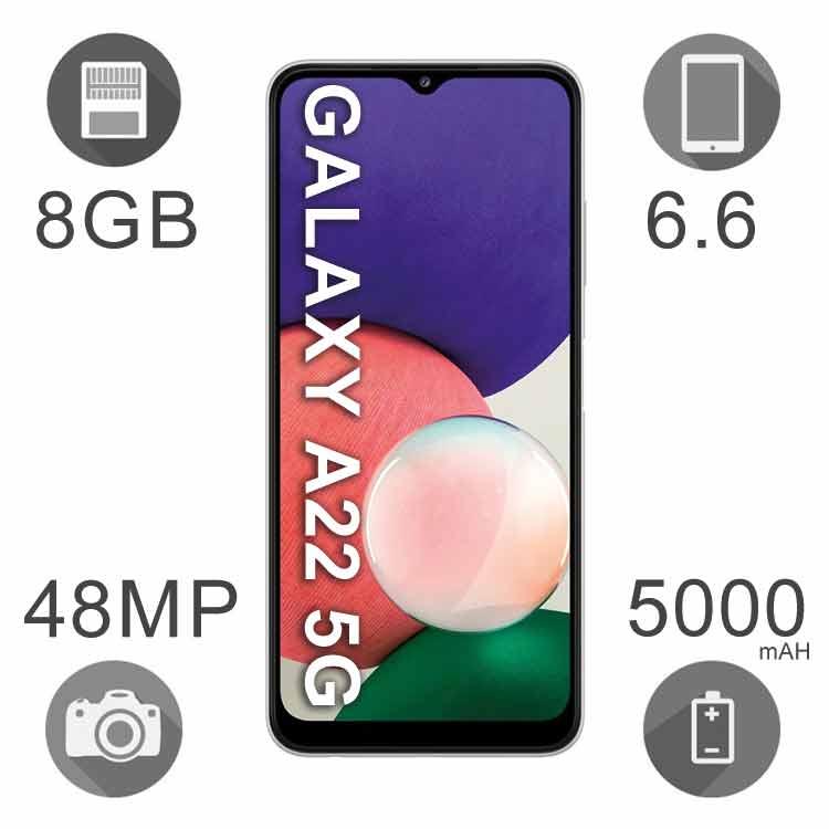 گوشی موبایل سامسونگ مدل Galaxy A22 ظرفیت ۱۲۸ گیگابایت رم ۸ گیگ دو سیم کارت ۵G